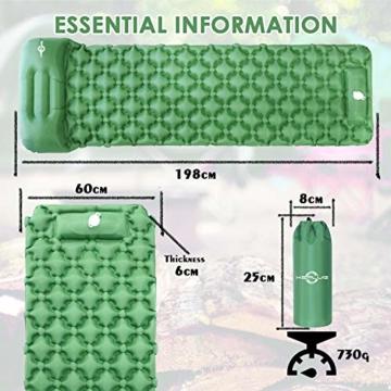 KEPLUG Isomatte selbstaufblasend Camping, luftmatratze Camping mit Fußpresse Ultraleicht, aufblasbare matratze für Camping, Strand, Reise, Outdoor, Wandern 195x70x6cm (Grün) - 7