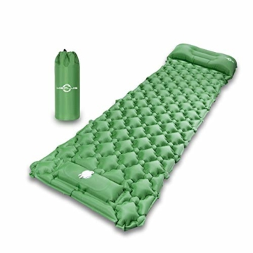 KEPLUG Isomatte selbstaufblasend Camping, luftmatratze Camping mit Fußpresse Ultraleicht, aufblasbare matratze für Camping, Strand, Reise, Outdoor, Wandern 195x70x6cm (Grün) - 8