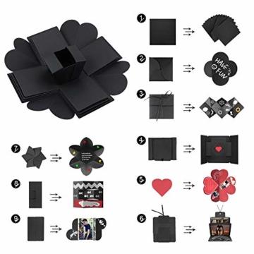 Komake Überraschung Box, Explosion Box, DIY Geschenk Scrapbook und Foto-Album für Weihnachten/Valentine/Jahrestag/Geburtstag/Hochzeit (Schwarz) - 4