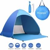 Kratax Pop up Zelt Wasserdicht, Tragbar Faltbar Strandmuschel für 2-4 Personen UV-Schutz Sun Shelter für Strand Garten Camping Picknick im Freien Outdoor Familie - 1