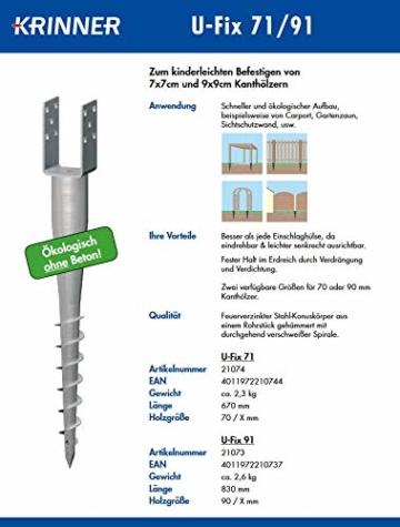 Krinner Bodenhülse U-Fix 91 (Eindrehbodenhülse für Kanthölzer, Pfostenträger, Länge 830 mm, für Holzgröße 90 / X mm) 21073, feuerverzinkt - 5