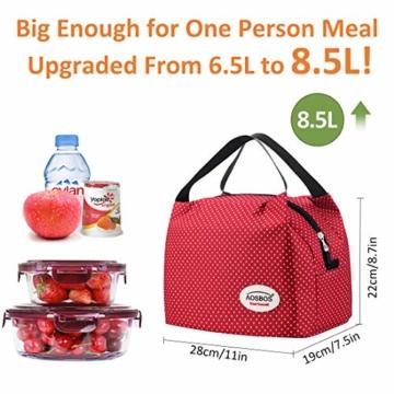 Kühltasche Klein Leicht Lunch Tasche Isoliertasche zur Arbeit Schule Faltbar Wasserdicht Reißverschluss 8,5L Punkt Rot - 2
