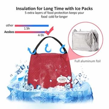 Kühltasche Klein Leicht Lunch Tasche Isoliertasche zur Arbeit Schule Faltbar Wasserdicht Reißverschluss 8,5L Punkt Rot - 4