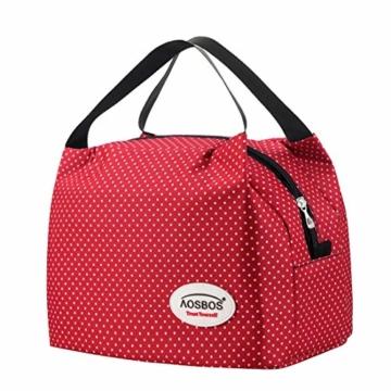 Kühltasche Klein Leicht Lunch Tasche Isoliertasche zur Arbeit Schule Faltbar Wasserdicht Reißverschluss 8,5L Punkt Rot - 1