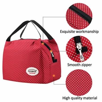 Kühltasche Klein Leicht Lunch Tasche Isoliertasche zur Arbeit Schule Faltbar Wasserdicht Reißverschluss 8,5L Punkt Rot - 5