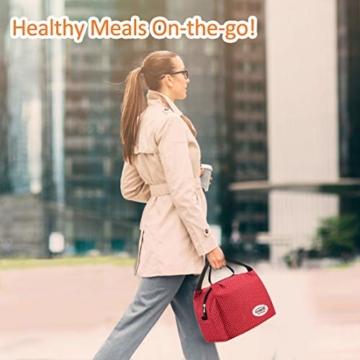 Kühltasche Klein Leicht Lunch Tasche Isoliertasche zur Arbeit Schule Faltbar Wasserdicht Reißverschluss 8,5L Punkt Rot - 6