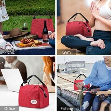 Kühltasche Klein Leicht Lunch Tasche Isoliertasche zur Arbeit Schule Faltbar Wasserdicht Reißverschluss 8,5L Punkt Rot - 7