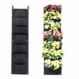 L & H Gadgets Vertikaler Hängepflanzer mit 7 Taschen für Kräuter oder Blumen, Pflanztasche für Hof, Wohnungen, Balkon, Terrasse, Schulhof und Garten - 1