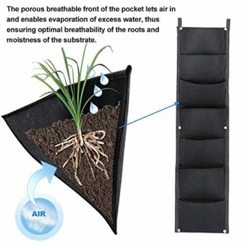 L & H Gadgets Vertikaler Hängepflanzer mit 7 Taschen für Kräuter oder Blumen, Pflanztasche für Hof, Wohnungen, Balkon, Terrasse, Schulhof und Garten - 5