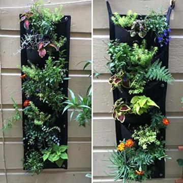 L & H Gadgets Vertikaler Hängepflanzer mit 7 Taschen für Kräuter oder Blumen, Pflanztasche für Hof, Wohnungen, Balkon, Terrasse, Schulhof und Garten - 6