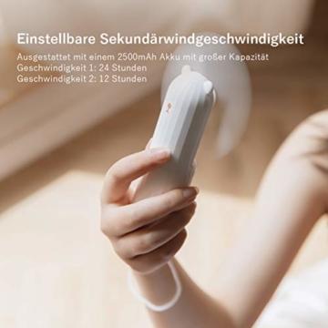 Lahuko Bär Mini Handventilator, 2 Windmodi, 24h Arbeitszeit, Starker Wind, 24h Akkulaufzeit, Power Bank für Handy, Tragbarer USB Mini Lüfter für Büro, Urlaub und Reisen(Weiß) - 4