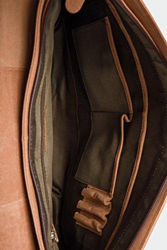 LEABAGS Cambridge Umhängetasche Schultertasche Laptoptasche 15 Zoll aus Echtleder, (LxBxH) ca. 38 x 10 x 31 cm - Braun - 3