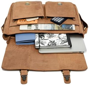LEABAGS Cambridge Umhängetasche Schultertasche Laptoptasche 15 Zoll aus Echtleder, (LxBxH) ca. 38 x 10 x 31 cm - Braun - 5