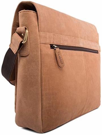 LEABAGS Cambridge Umhängetasche Schultertasche Laptoptasche 15 Zoll aus Echtleder, (LxBxH) ca. 38 x 10 x 31 cm - Braun - 6