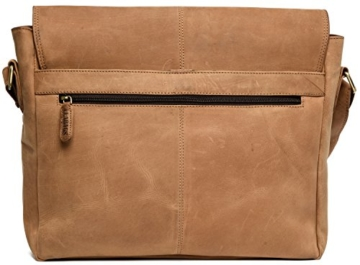 LEABAGS Cambridge Umhängetasche Schultertasche Laptoptasche 15 Zoll aus Echtleder, (LxBxH) ca. 38 x 10 x 31 cm - Braun - 9