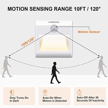 LED Nachtlicht mit Bewegungsmelder OMERIL 2 Stück Warmweiß Nachtlicht Kind, 3 Modi (Auto/ON/OFF) LED Schrankbeleuchtung mit Haftend, Orientierungslicht für Kinderzimmer, Schlafzimmer, Treppen, Flur - 2
