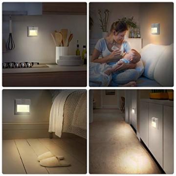 LED Nachtlicht mit Bewegungsmelder OMERIL 2 Stück Warmweiß Nachtlicht Kind, 3 Modi (Auto/ON/OFF) LED Schrankbeleuchtung mit Haftend, Orientierungslicht für Kinderzimmer, Schlafzimmer, Treppen, Flur - 3