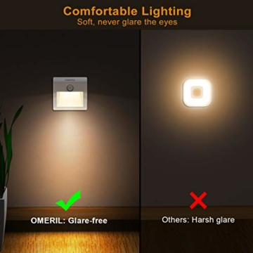 LED Nachtlicht mit Bewegungsmelder OMERIL 2 Stück Warmweiß Nachtlicht Kind, 3 Modi (Auto/ON/OFF) LED Schrankbeleuchtung mit Haftend, Orientierungslicht für Kinderzimmer, Schlafzimmer, Treppen, Flur - 4