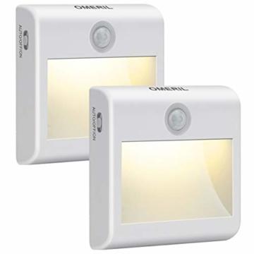 LED Nachtlicht mit Bewegungsmelder OMERIL 2 Stück Warmweiß Nachtlicht Kind, 3 Modi (Auto/ON/OFF) LED Schrankbeleuchtung mit Haftend, Orientierungslicht für Kinderzimmer, Schlafzimmer, Treppen, Flur - 1