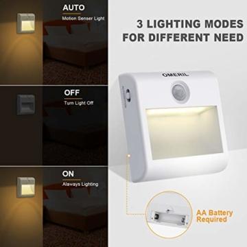 LED Nachtlicht mit Bewegungsmelder OMERIL 2 Stück Warmweiß Nachtlicht Kind, 3 Modi (Auto/ON/OFF) LED Schrankbeleuchtung mit Haftend, Orientierungslicht für Kinderzimmer, Schlafzimmer, Treppen, Flur - 7