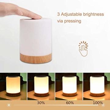 LED Nachttischlampe, Touch Dimmbar Atmosphäre Tischlampe für Schlafzimmer Wohnzimmer, Tragbar Nachtlicht mit 16 Farben und Warmes Weißes Farbwechsel -EINWEG - 2