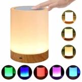 LED Nachttischlampe, Touch Dimmbar Atmosphäre Tischlampe für Schlafzimmer Wohnzimmer, Tragbar Nachtlicht mit 16 Farben und Warmes Weißes Farbwechsel -EINWEG - 1