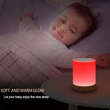 LED Nachttischlampe, Touch Dimmbar Atmosphäre Tischlampe für Schlafzimmer Wohnzimmer, Tragbar Nachtlicht mit 16 Farben und Warmes Weißes Farbwechsel -EINWEG - 3