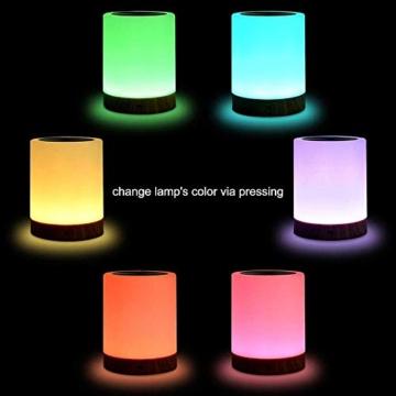 LED Nachttischlampe, Touch Dimmbar Atmosphäre Tischlampe für Schlafzimmer Wohnzimmer, Tragbar Nachtlicht mit 16 Farben und Warmes Weißes Farbwechsel -EINWEG - 4
