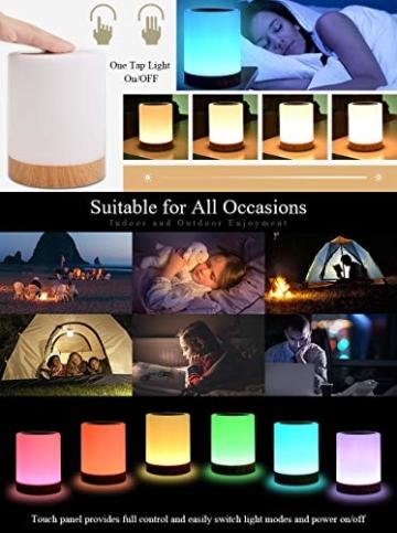 LED Nachttischlampe, Touch Dimmbar Atmosphäre Tischlampe für Schlafzimmer Wohnzimmer, Tragbar Nachtlicht mit 16 Farben und Warmes Weißes Farbwechsel -EINWEG - 6