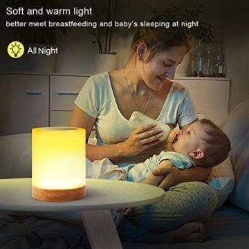 LED Nachttischlampe, Touch Dimmbar Atmosphäre Tischlampe für Schlafzimmer Wohnzimmer, Tragbar Nachtlicht mit 16 Farben und Warmes Weißes Farbwechsel -EINWEG - 7
