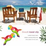 lembrd 2 Stück Wäscheklammern Handtuchklemmen Strandtuchklammern Handtücher Towel Clips - Papagei Vogel Handtuchclips aus Kunststoff für Wäsche, Strandtuch, Badetuch, Teppich - 1