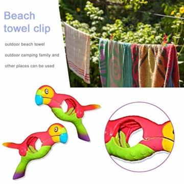 lembrd 2 Stück Wäscheklammern Handtuchklemmen Strandtuchklammern Handtücher Towel Clips - Papagei Vogel Handtuchclips aus Kunststoff für Wäsche, Strandtuch, Badetuch, Teppich - 3