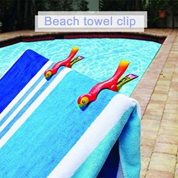 lembrd 2 Stück Wäscheklammern Handtuchklemmen Strandtuchklammern Handtücher Towel Clips - Papagei Vogel Handtuchclips aus Kunststoff für Wäsche, Strandtuch, Badetuch, Teppich - 4