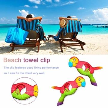 lembrd 2 Stück Wäscheklammern Handtuchklemmen Strandtuchklammern Handtücher Towel Clips - Papagei Vogel Handtuchclips aus Kunststoff für Wäsche, Strandtuch, Badetuch, Teppich - 5
