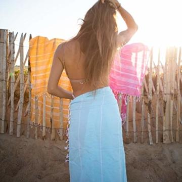 LeStoff das traditionelle Hamamtuch Strandtuch Badetuch Saunatuch Duschtuch Spa Sport Yoga Reisen 100% Naturfaser Baumwolle Die nachhaltige Alternative für Frottee. (100 x 180 cm, Light Aqua) - 7