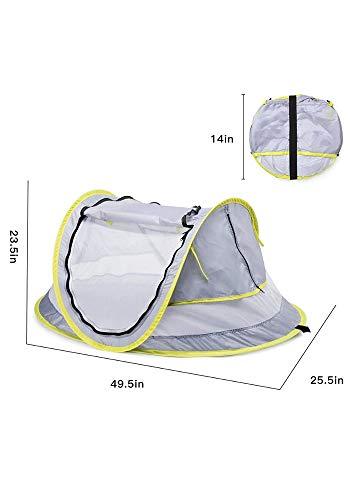 LLHAI Bewegliches Baby-Strand-Zelt, knallt Oben Zelt Sun Shelters, Babyreisebett mit Moskito, Schatten Strandschirm - 4