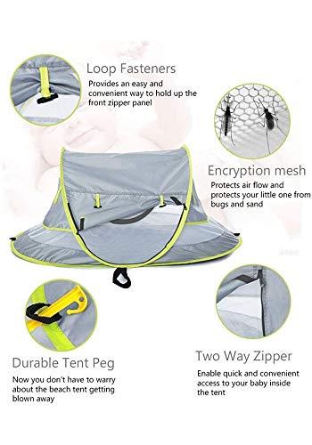LLHAI Bewegliches Baby-Strand-Zelt, knallt Oben Zelt Sun Shelters, Babyreisebett mit Moskito, Schatten Strandschirm - 5