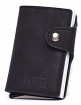 Lovell Berlin ® - Geldbörse klein | Schwarz | Vegan | Geldbörse für Frauen & Herren | Mini Slim Wallet mit Zughebel | Portemonnaie | Portmonee | Kartenetui | Geldbörse PU Leder | Geldbeutel - 1