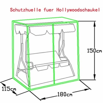 Loywe Hollywoodschaukel Gartenschaukel Schaukelbank 3-Sitzer mit Dach Stahlgestell,Grün 170x115x156cm JL12 - 6