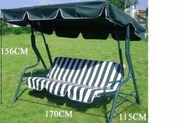 Loywe Hollywoodschaukel Gartenschaukel Schaukelbank 3-Sitzer mit Dach Stahlgestell,Grün 170x115x156cm JL12 - 2