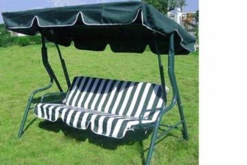 Loywe Hollywoodschaukel Gartenschaukel Schaukelbank 3-Sitzer mit Dach Stahlgestell,Grün 170x115x156cm JL12 - 3