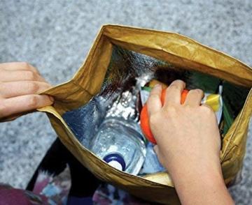 Luckies of London Braune Lunch Bag, Kühltasche mit Klettverschluss Thermische Tasche,  21x26 cm - 3