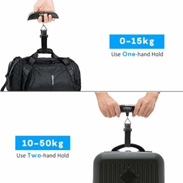 Luxebell Digitale Kofferwaage Gepäckwaage, Travel Kofferwaage T-förmigen Hängewaage Mit Temperaturanzeige, 50 kg Kapazität, Schwarz - 5
