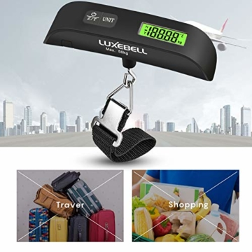 Luxebell Digitale Kofferwaage Gepäckwaage, Travel Kofferwaage T-förmigen Hängewaage Mit Temperaturanzeige, 50 kg Kapazität, Schwarz - 7