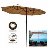 LYBC Gartenschirm Terrassenschirm Kurbelschirm im Freien mit Kurbel Lüftungsschlitze,Großen Doppelsonnenschirm,12 Stabilen Stahlrippen,450x270cm - 1