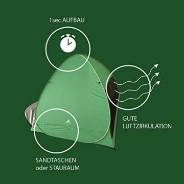 mapuera große Pop up Strandmuschel zum Verschließen Cabana rapida - UV 50+ Sonnenschutz, für 2-4 Personen, in Österreich entwickelt (minzgrün) - 2