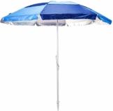 matrasa Sonnenschirm mit Schraubdorn - 200 cm Durchmesser UV50+ Strandschirm (Blau) - 1
