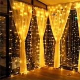MeaMae Care Lichtervorhang Vorhang Lichterkette innen/außen 300 LEDs 3M*3M warmgeld wasserdicht Lichterkettenvorhang für Zimmer/Garten/Balkon/Weihnachten/Hochzeit usw. - 1