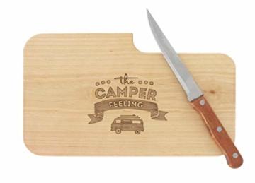 meinbecher nachhaltiges Brotzeitbrett Schneidebrett Jausenbrett Holz Messer Geschenk Männer Frauen Geschenkidee für Ihn & Sie_Camper Feeling - 2