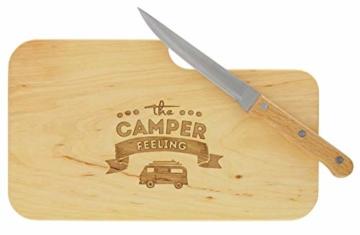 meinbecher nachhaltiges Brotzeitbrett Schneidebrett Jausenbrett Holz Messer Geschenk Männer Frauen Geschenkidee für Ihn & Sie_Camper Feeling - 3